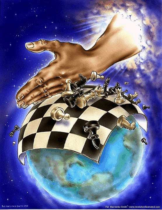 God's hand over chess board