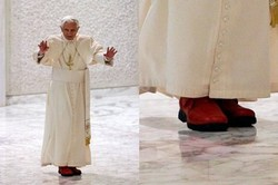pope red shoes