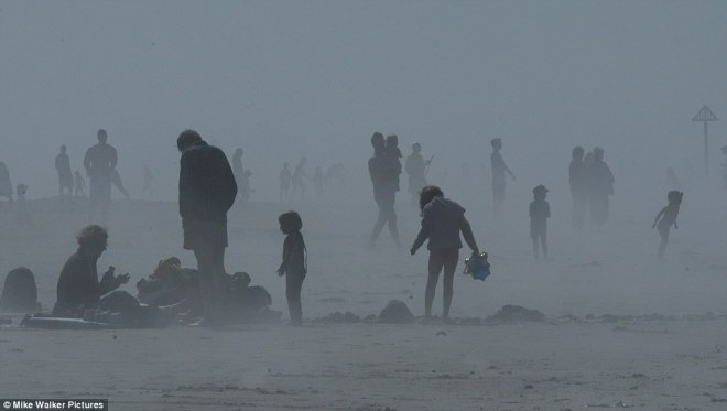 people in mist on beach