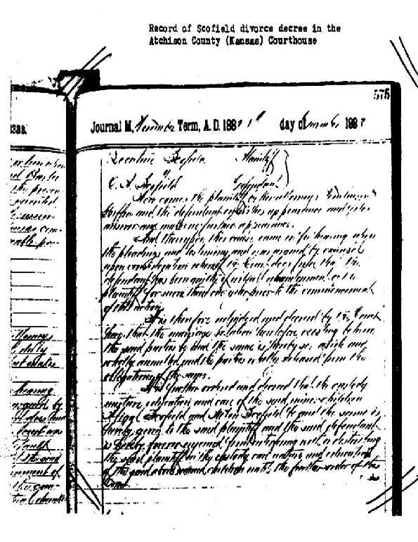 scofield divorce letter handwritten