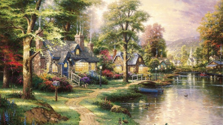 landscapes-nature-artwork-thomas-kinkade-HD-Wallpapers