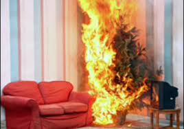 christmas tree burning